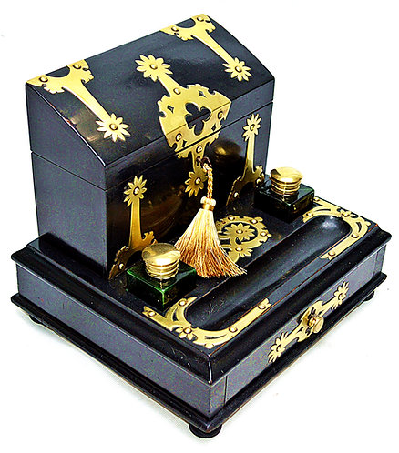 A Victorian brass mounted, ebonised Stationery Box with Inkstand, circa 1880