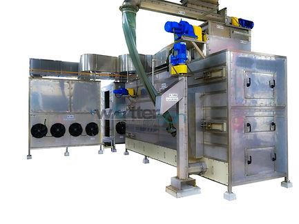 Okada continuous belt sludge dryer low temperature refirgerant heat pump dehumidification