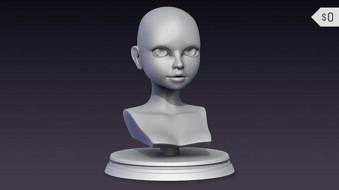 Free Stylized Female Head Base Mesh