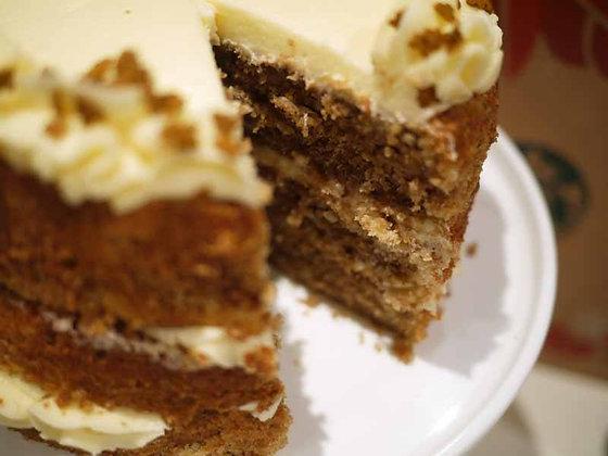 Pumpkin Walnut Spice Cake with Cinnamon Cream Cheese Frosting