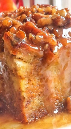 Pumpkin Praline Bread Pudding with Caramel Sauce