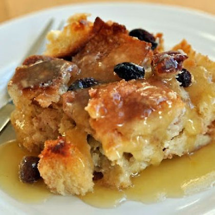 Cranberry Apple Bread Pudding with Caramel Sauce