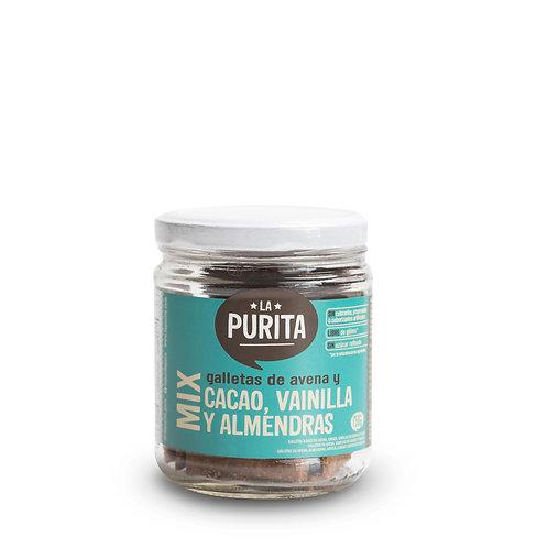 Frasco de Galletas de Avena Mix (Cacao, Vainilla y Almendras) 130g