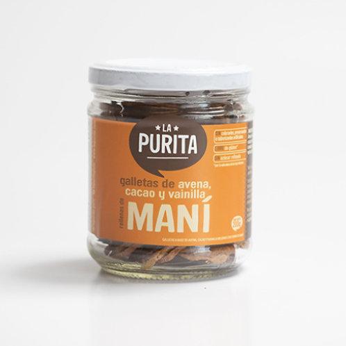 Galletas de avena, vainilla y cacao rellenas de mani 200g
