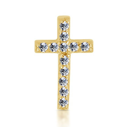 14k Yellow Diamond Cross