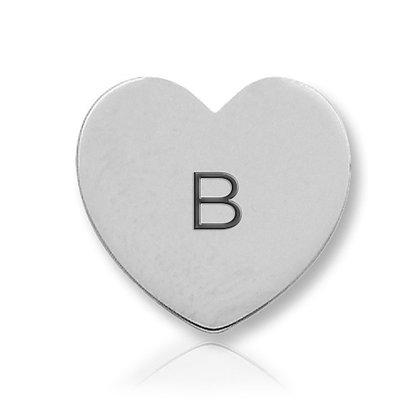 14k White Initial Heart