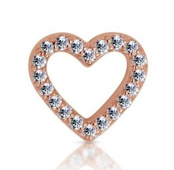 14k Rose Diamond Open Heart