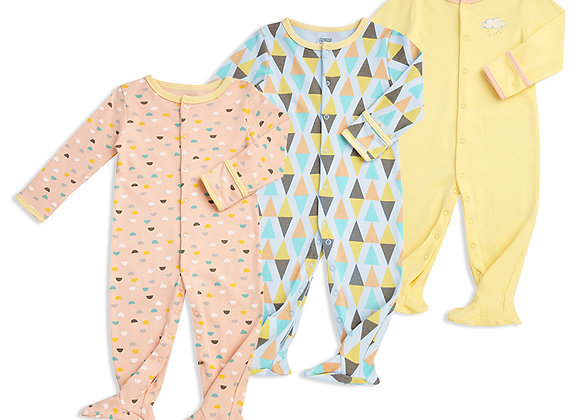 OEKO-TEX certified Dylan Long Sleeve 100%cotton footie jumpsuits (3 pieces set)