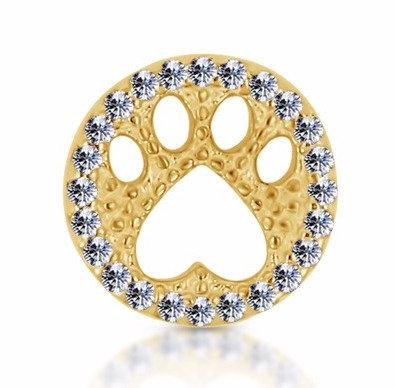 14k Yellow Diamond Paw