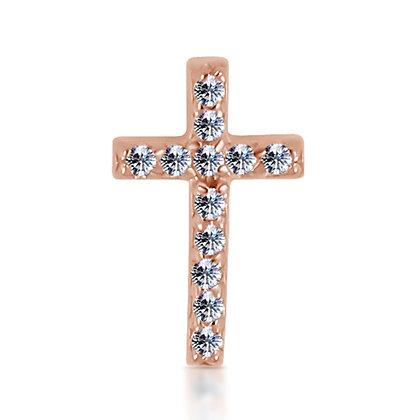 14k Rose Diamond Cross