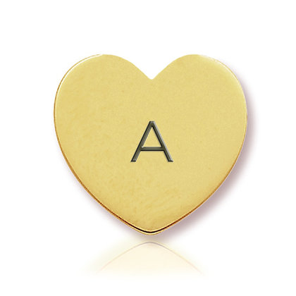 14k Yellow Initial Heart