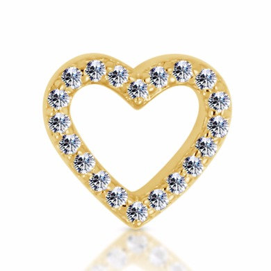 14k White Diamond Open Heart