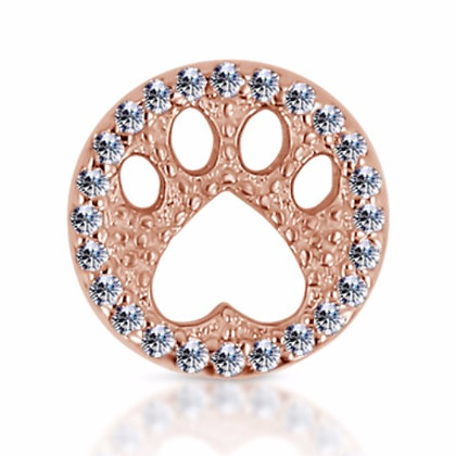 14k Rose Diamond Paw