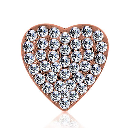 14k Rose Diamond Heart