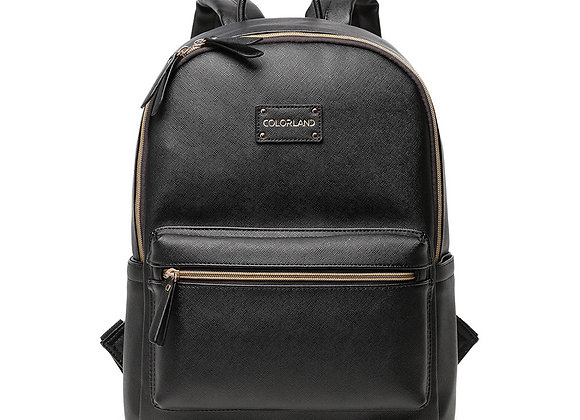 Colorland Ariana Faux Leather Backpack Changing Bag,Black