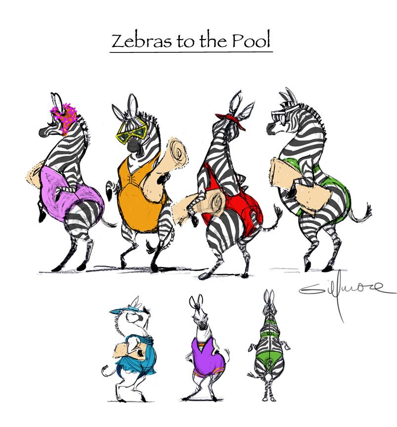 Zebras Poolside