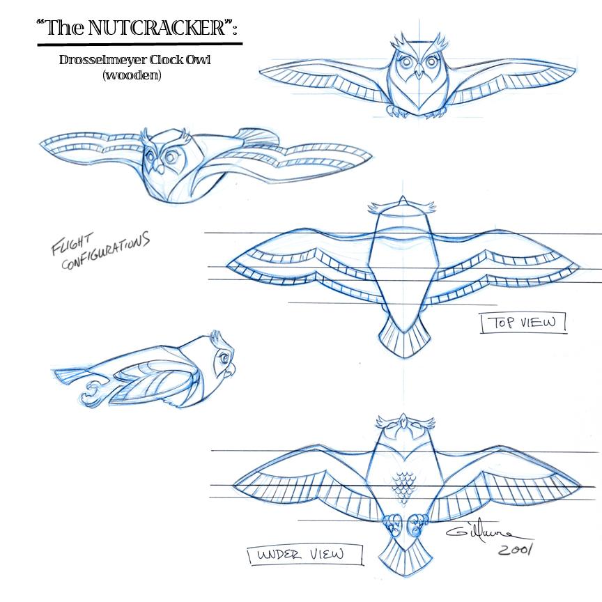 Clock Owl  (flight angles)