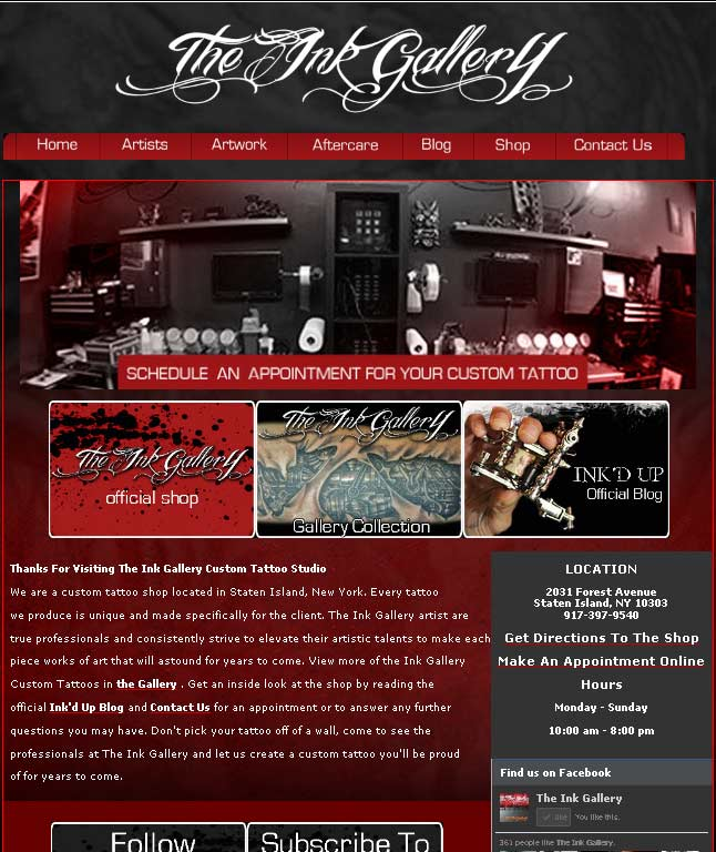 Tattoo Shop Web Design