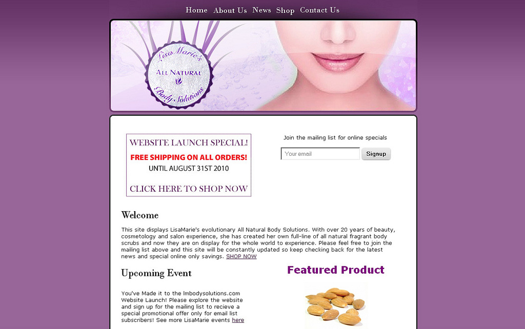 Skin Care Product Website Design
