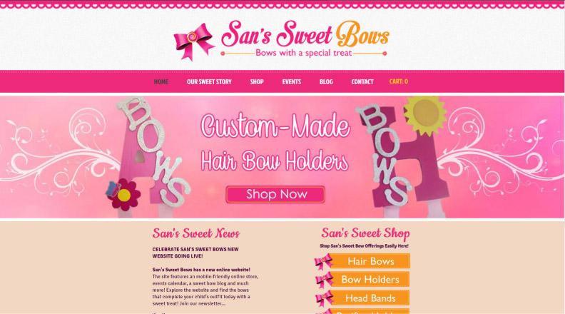 Sans Sweet Bows Website Design