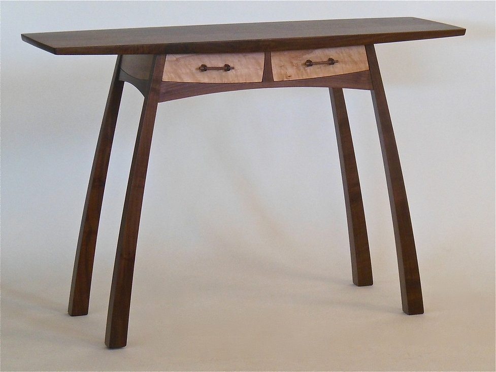 Walnut Twin-Drawer Hall Table
