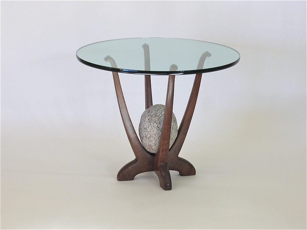 Glass and Granite End Table