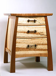 Bulging Bedside Table, Three Drawer