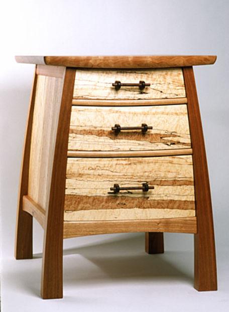 Bulging Bedside Table, Three Drawer