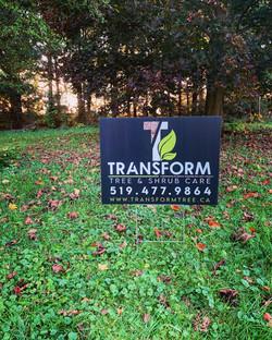 Job Site Signs for Transform Tree & Shrub Care