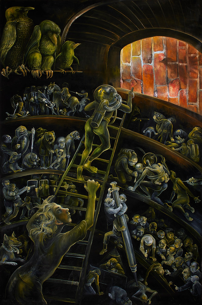 die Flucht, 180cm. x 119cm., oil on canv