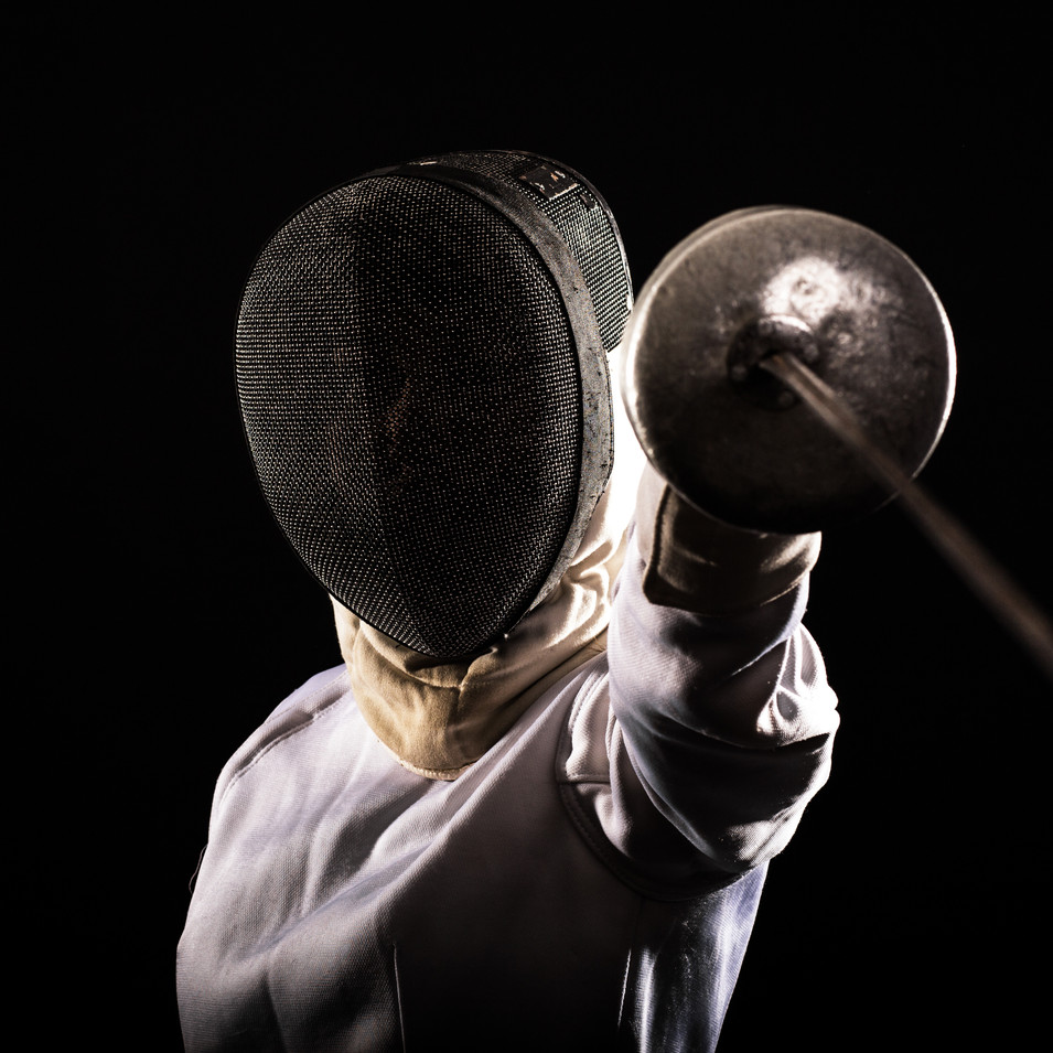 Fencer with Mask