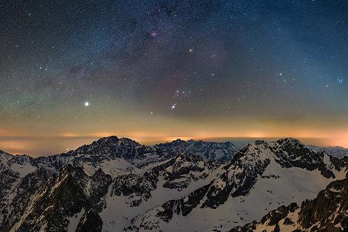 Orion nad Tatrami z Łomnickiego Szczytu