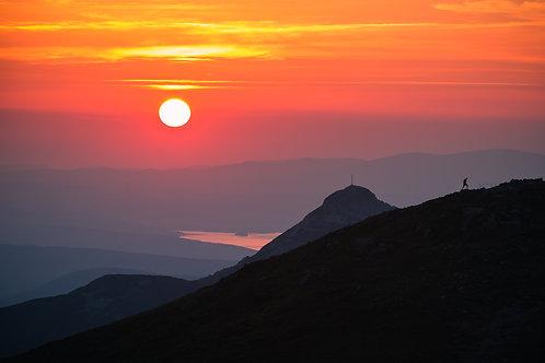 Podziwiając Zachód Słońca Na Kasprowym