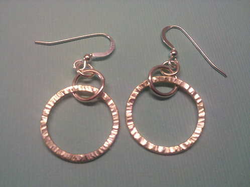 Round Hammered Sterling Silver Earrings
