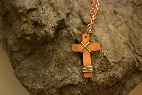 Small Copper Cross with Sterling Silver Accents