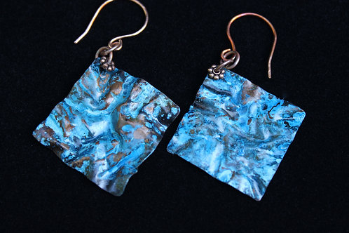 Square Copper Foldformed Earrings with Ocean Blue Patina