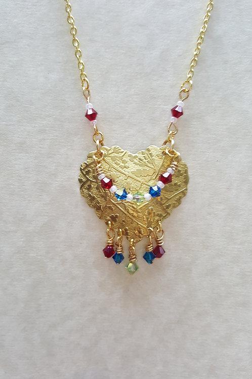 Patterned brass heart with Swarovski crystal choker