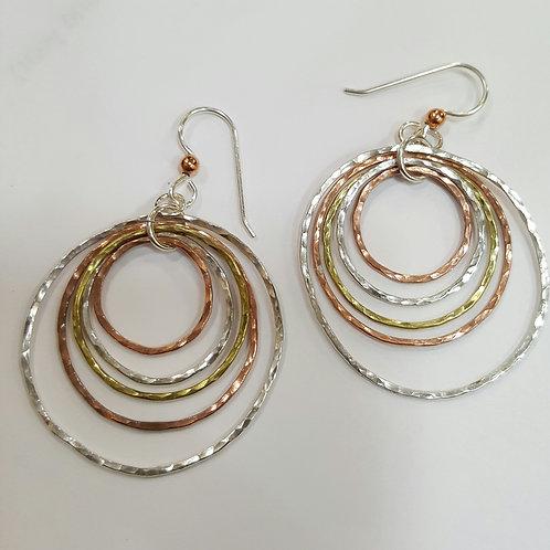 Sterling silver, copper and brass dangling hoop earrings