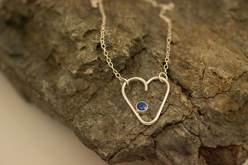 Sterling Silver Heart with (created) Blue Sapphire