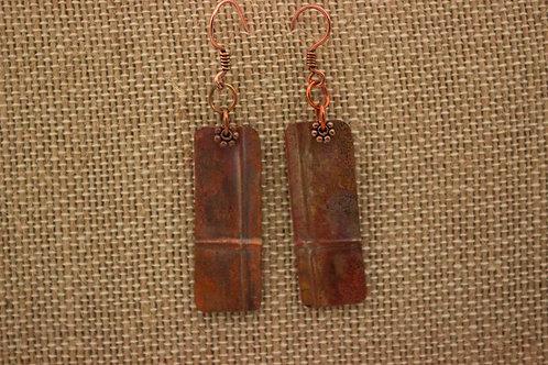 Long Rectangle Copper Foldformed Earrings