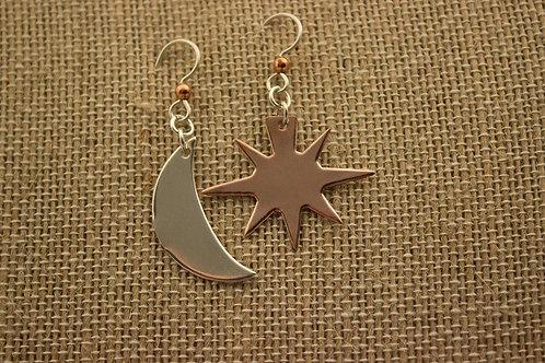 Copper Sun, Silver Moon earrings