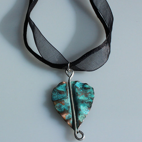 Copper and Sterling Silver Leaf Necklace with Blue-Green Patina