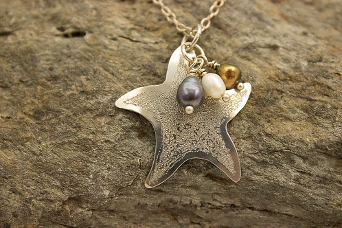 Sterling Silver Starfish Necklace with Freshwater Pearls