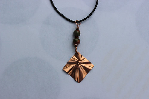 Copper crinkle necklace with Unakite beads on leather cord