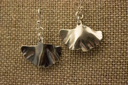 Sterling Silver Plain Ginkgo Earrings
