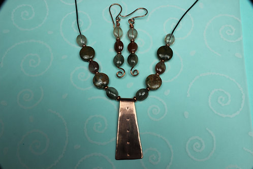 Copper, Rutilated Quartz and Red Creek Jasper Necklace and Earring Set