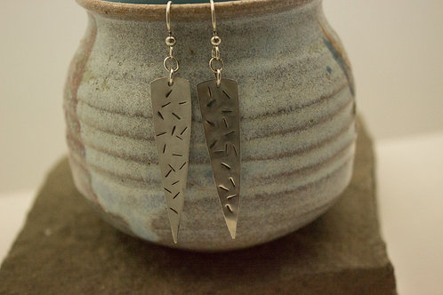 Sterling Silver Long Pointed Earrings with Line Texture