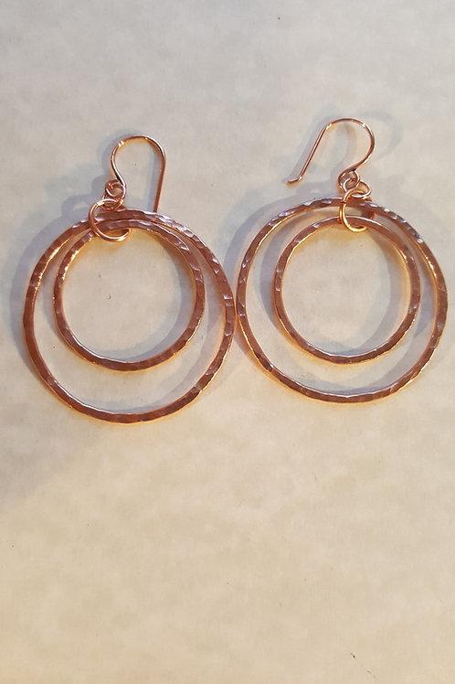 Hammered Copper Double Hoop Earrings