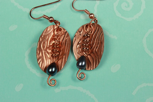 Moire Patterned Copper with Grey Pearl Spiral Drops