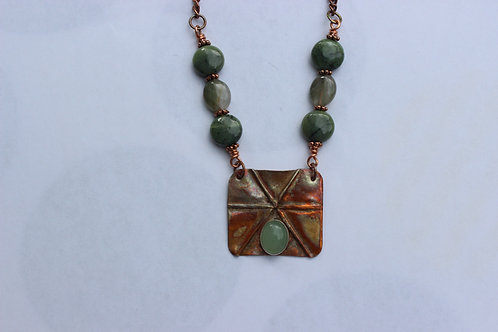 Foldformed Copper Rectangle Necklace with Aventurine Cab, Nephrite and Agate Bea